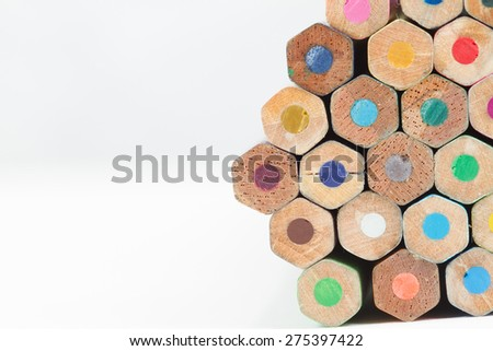 Texture of colored pencils, Isolated on white background - stock photo
