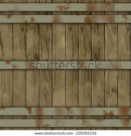 Texture of colorful wooden fence or floor. Brown, red, orange, yellow, rusty metal beam - stock photo
