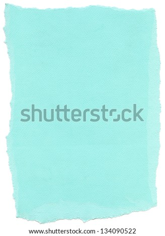 Texture of cyan fiber paper with torn edges. Isolated on white background. - stock photo