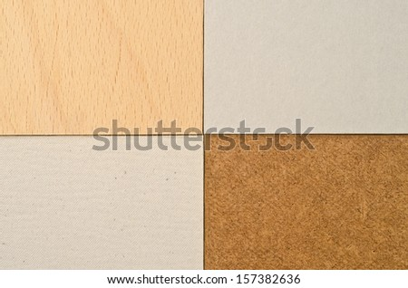 Texture of different paperboard, wood, pressed cardboard - stock photo