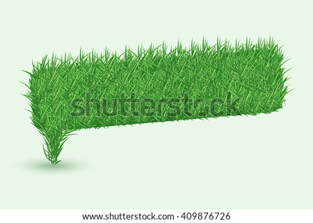 Texture of grass in shape of Speech bubbles icons isolated on white background. Rasterized version. - stock photo