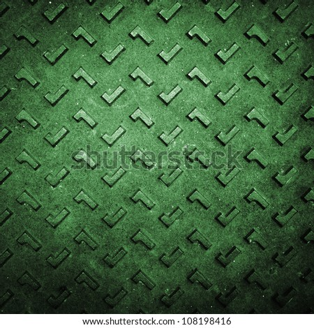 Texture of Green Grunge Rusty Steel Floor Plate for Background - stock photo