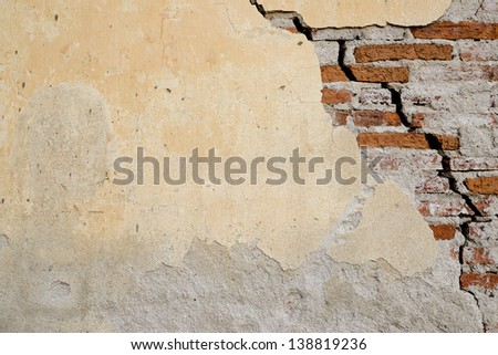Texture of grunge brick wall is broken.