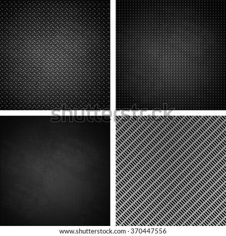 Texture of metal grid metalic mesh set - stock photo