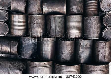 texture of metal tins - stock photo