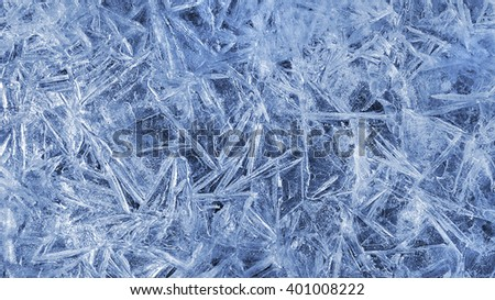 Texture of natural ice pattern close up - stock photo