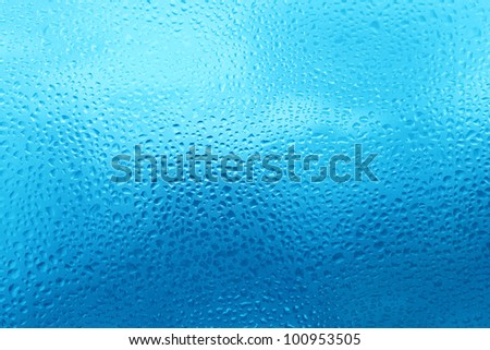 texture of natural water drops on glass