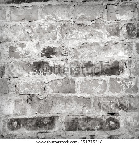 Texture of old brick wall in the countryside. It is used as a background.