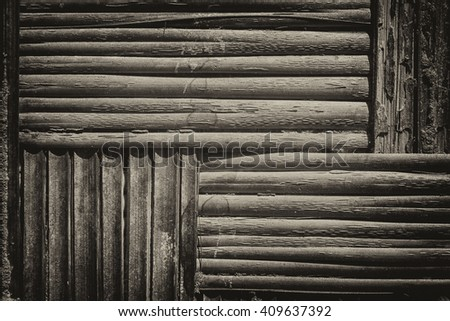 Texture of old dark straw weave - stock photo