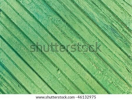Texture of old green shabby wood wall - stock photo