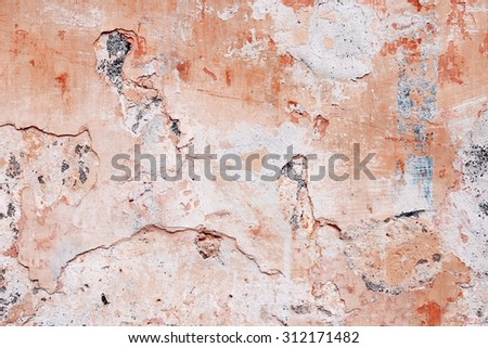 Texture of old red urban wall. City decay background. - stock photo