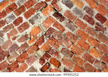 Texture of old weathered brick wall for backgrounds - stock photo