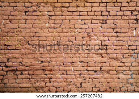 Texture of old weathered red brick wall  - stock photo