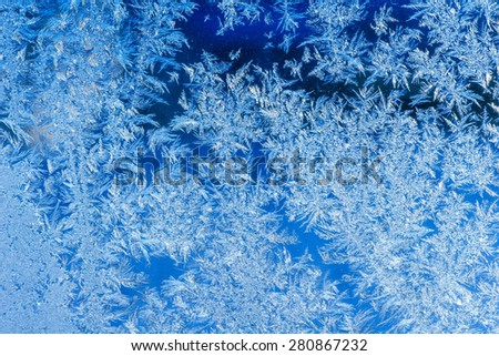 texture of patterns on frozen window glass  - stock photo