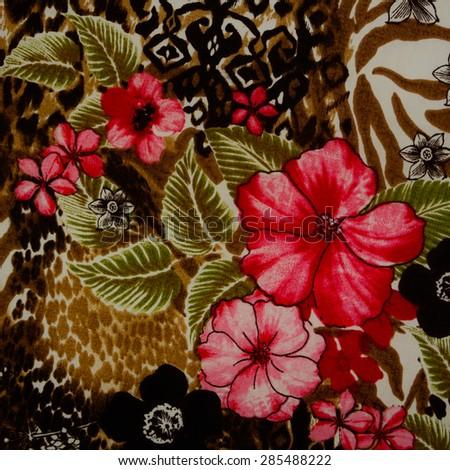 Leaf pattern background retro botanical style stylish flowers print - California Desert Wildflowers Stock Photo 512460