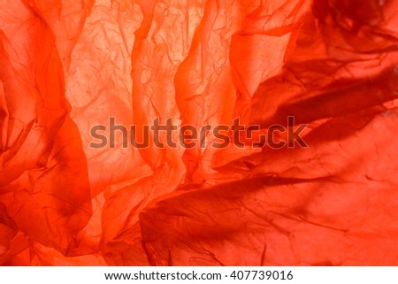 Texture of red striped crumpled paper for pattern background