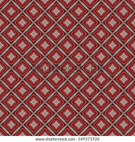 Texture of red tape folded squares on fabric background