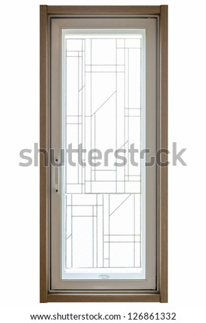 texture of residential window frame isolated on white background - stock photo