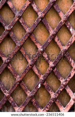 texture of rusty metal with an old peeling paint - stock photo