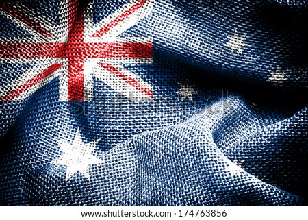 Texture of sackcloth with the image of the Australia Flag.  - stock photo