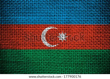 Texture of sackcloth with the image of the Azerbaijani flag - stock photo