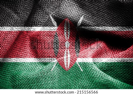 Texture of sackcloth with the image of the Kenya flag  - stock photo