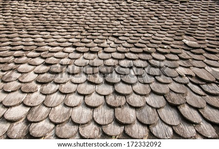 Texture of seamless wooden temple roof tiles. - stock photo