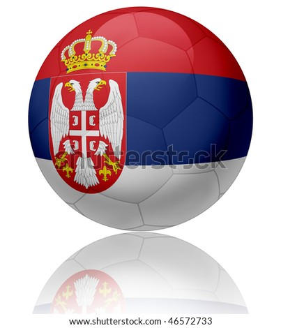 Texture of Serbia flag on glossy soccer ball - stock photo