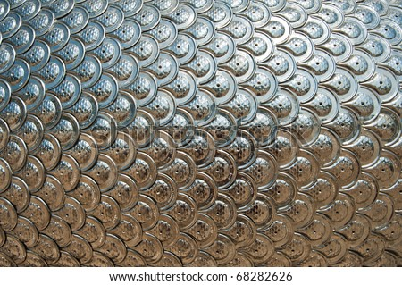 Texture of Silver Dragon Scales - stock photo