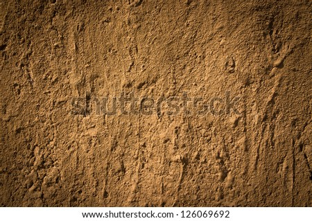 Texture of soil wall of traditional house  in Northern of Thailand - stock photo