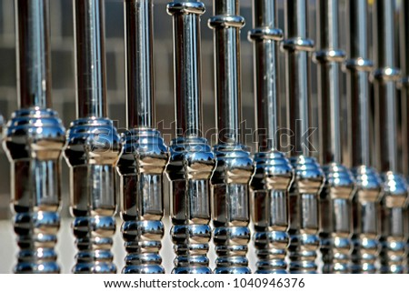 Texture of Stainless steel fence in Thai temple