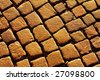 Texture of stone blocks at sunset - stock photo