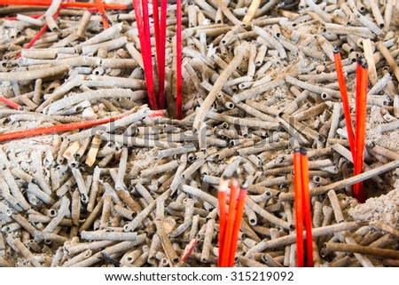 Texture of the ash incense stick from the burn. - stock photo