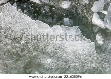 texture of the ice closeup - stock photo