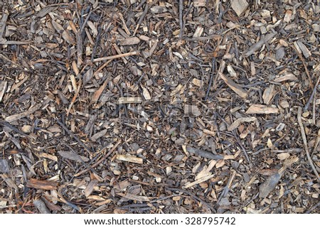 Texture of the soil in the forest with small pieces of wood.