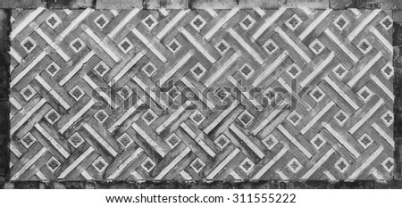 Texture of traditional korea brick wall background black and white color - stock photo