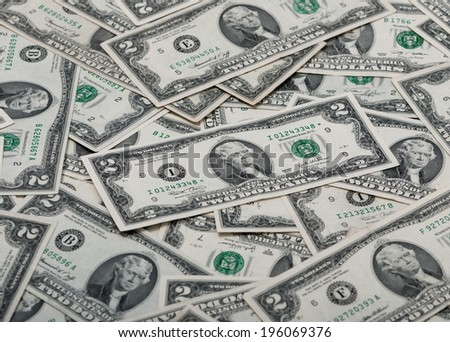 texture of two dollar bills - stock photo