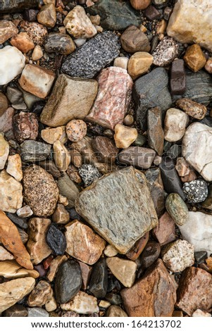 Texture of wet pebbles on a rocky beach - stock photo