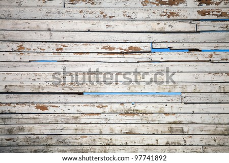 Texture of white weathered wooden lining boards with sky on a background - stock photo