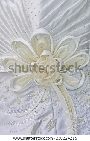 Texture of white wedding gown - stock photo