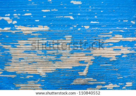 Texture of wood painted blue longitudinal grooves - stock photo