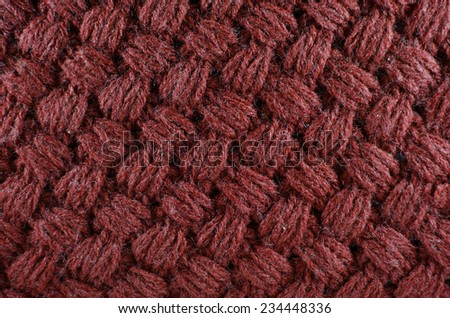 texture of woolen knitted red scarf, background - stock photo