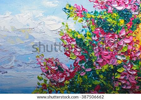 Texture Oil Painting Flowers Art Painted Stock Illustration