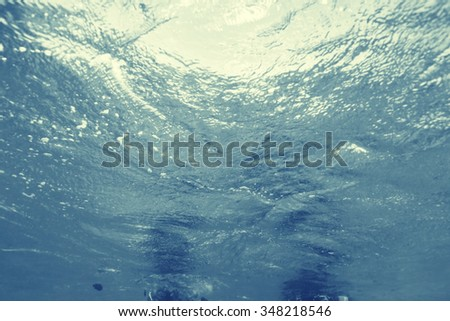 Texture sea water underwater - stock photo