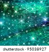 Textured and blur Christmas background with blue stars - stock vector
