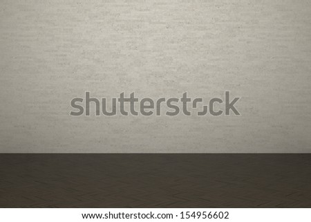Textured background of brick wall and wooden laminate floor in building - stock photo
