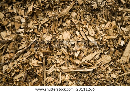Textured Background of Wood Chips on the Ground - stock photo