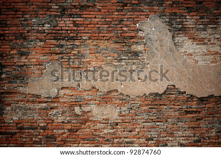 Textured background: old brick wall pattern - stock photo