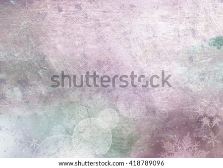 Textured background surface with bokeh circles and snowflakes