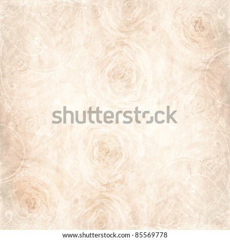 Textured  background with beige rose and space for text - stock photo
